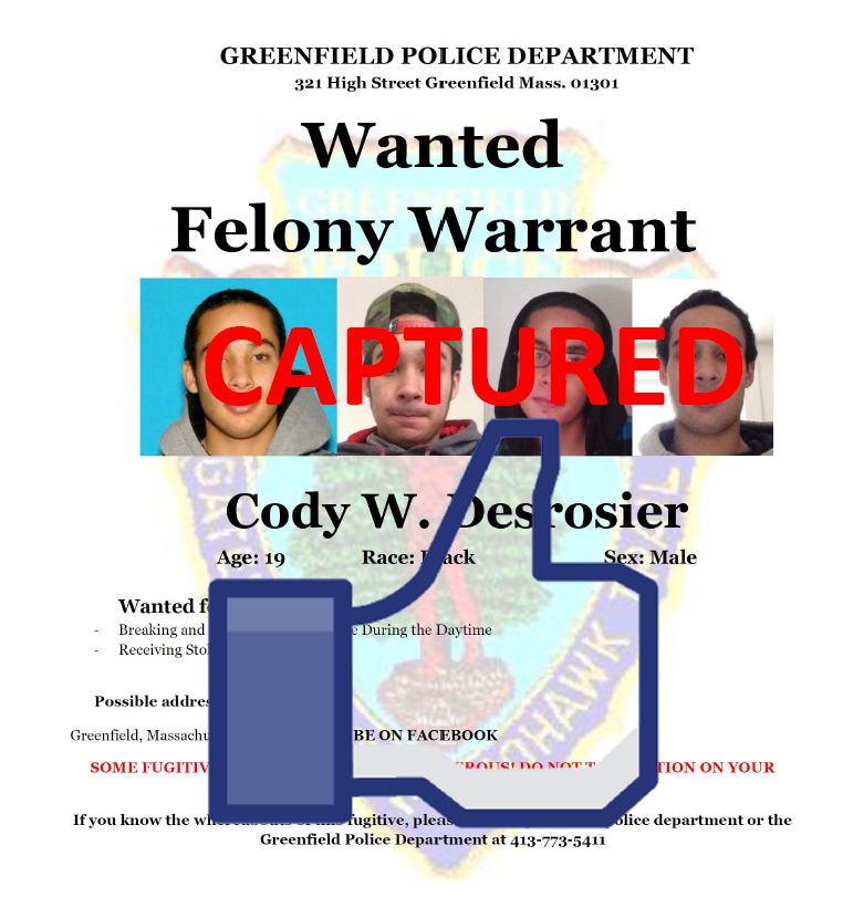 Wanted by the Greenfield Massachusetts Police Department for