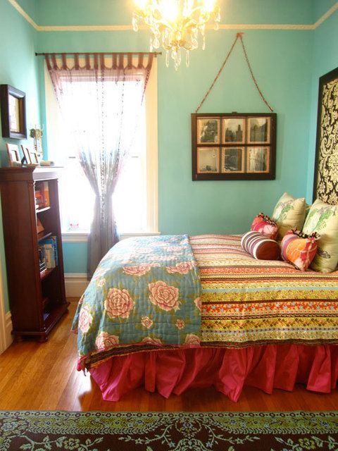 Colorful Bedroom. Tiny Molding. Window Pane Wall Hanging. Mismatched  Patterns. #bedroom #blue #turquoise #girly