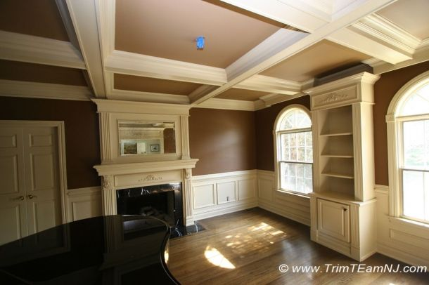 Loading File 060 Custom Build Library Coffered Ceiling Fireplace Mantle Wall Panels