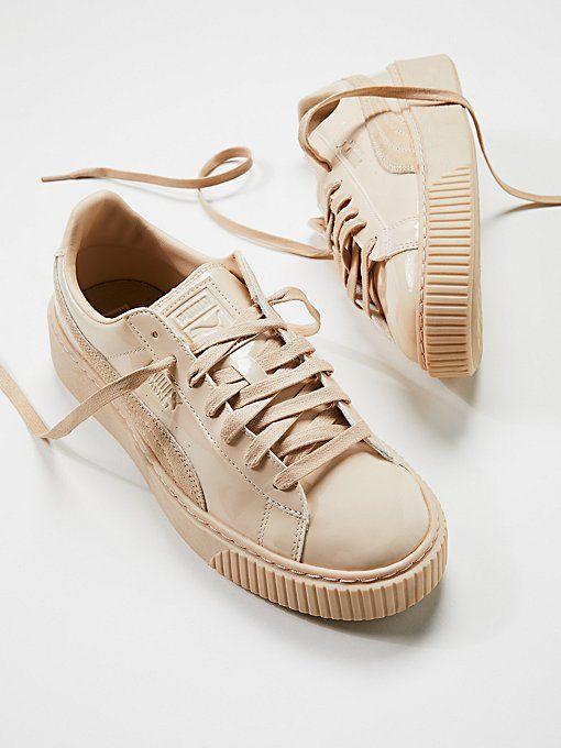 puma basket platform donna beige