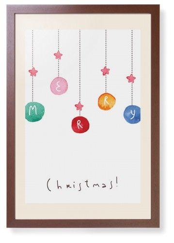 Merry Christmas Framed Print, Brown, Contemporary, Cream, Cream, Single piece, 20 x 30 inches
