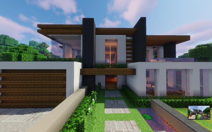 Modern House In 2020 Minecraft Modern Mansion Modern Minecraft