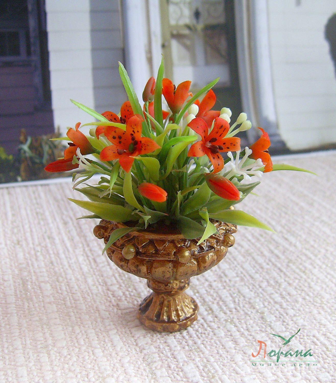 tiger lily bouquet in einem topf miniatur blumen realistische pflanze fr ihr puppenhaus - Blumen Im Topf Pflanzen