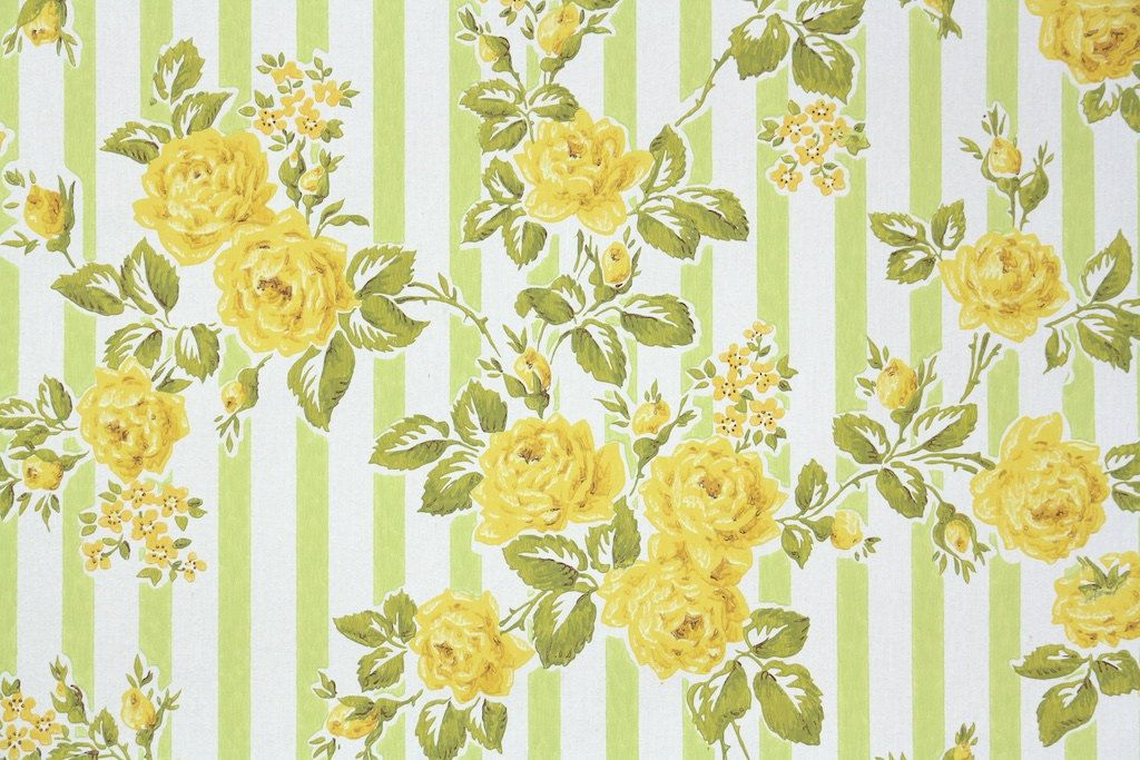 1960s Vintage Wallpaper by the Yard Floral Wallpaper