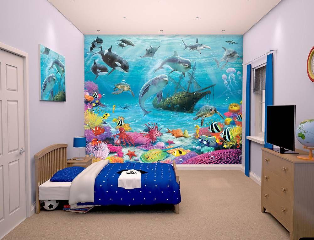 fotobehang posterbehang kinderkamer behang vissen dolfijn haai, Deco ideeën