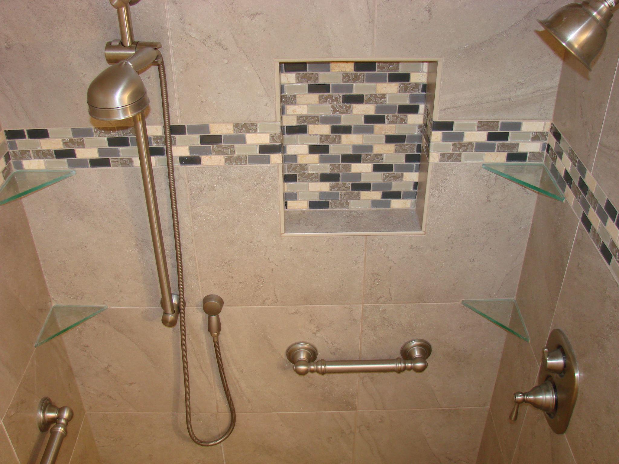 four corner glass shower shelves on