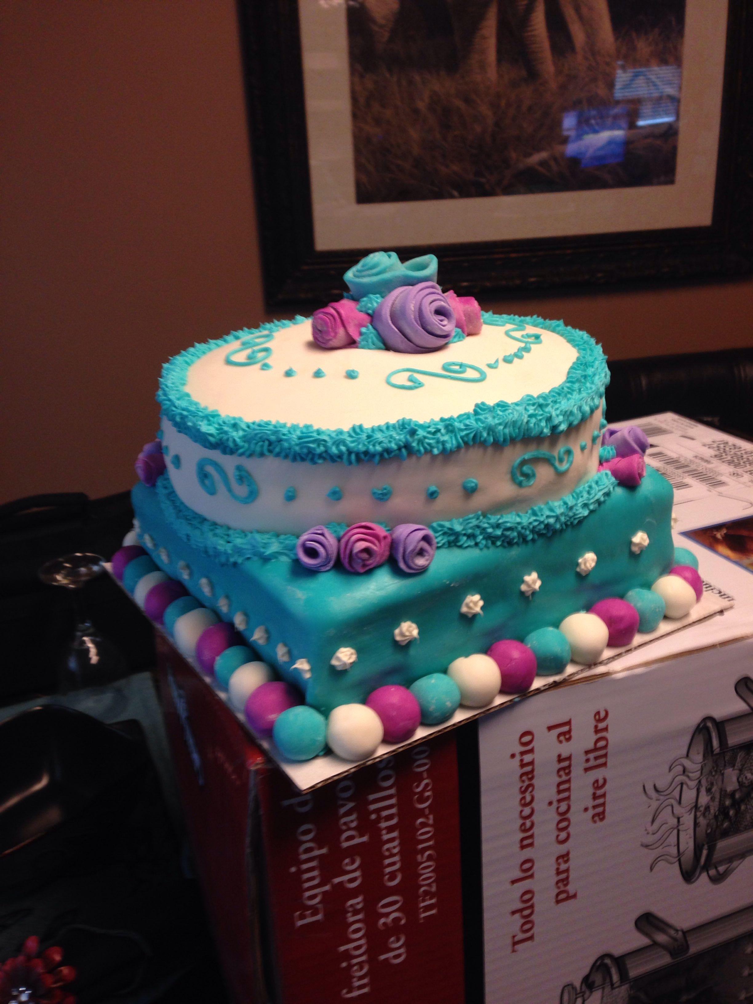 Pink Purple Teal Cake My Cakes Pinterest Teal Cake
