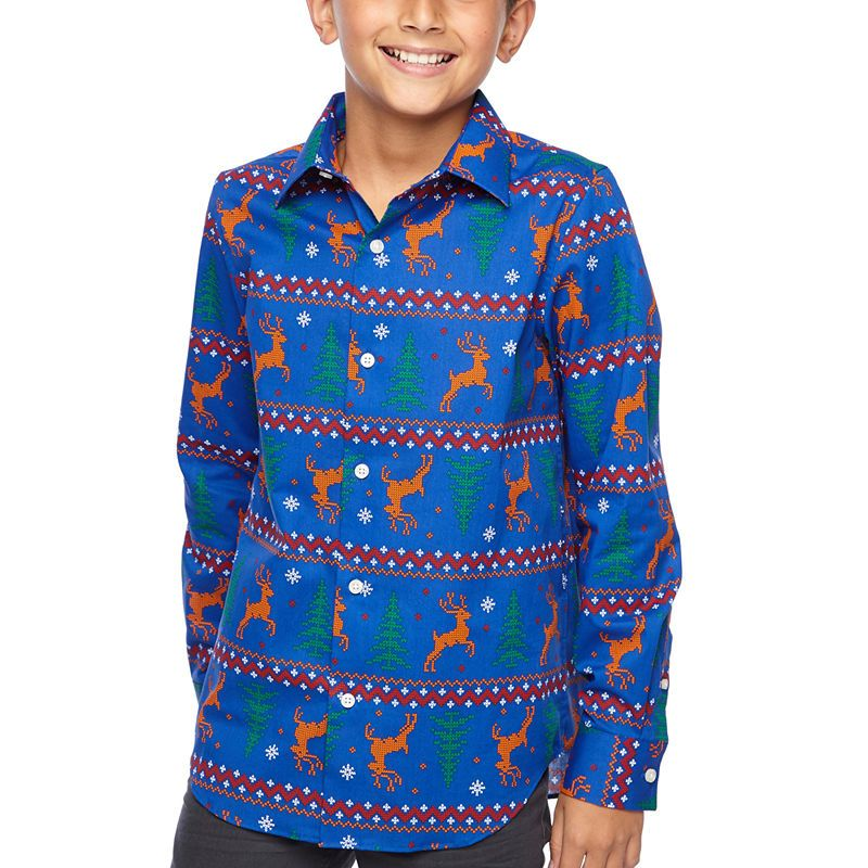a1cae350af2f North Pole Trading Co. Boys & Husky Jingle Long Sleeve Holiday Dress Shirt