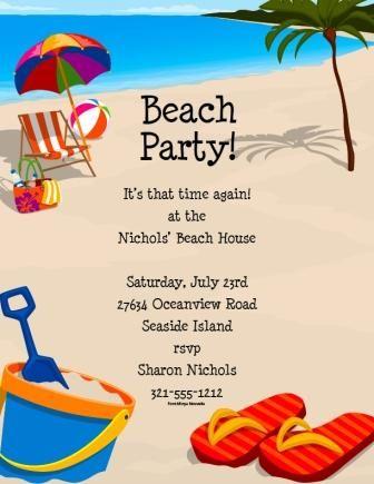 Create Easy Beach Party Invitations Templates Beach Party