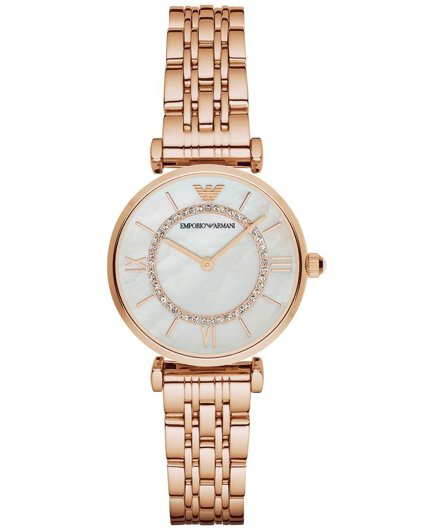 17b70e85cf7e Emporio Armani Women's Gianni T-Bar Rose Gold-Tone Stainless Steel Bracelet  Watch 32mm AR1909