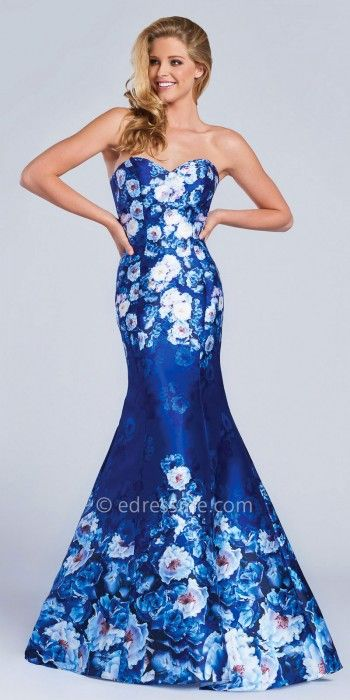 Strapless Floral Mikado Trumpet Evening Gown by Ellie Wilde for Mon ...