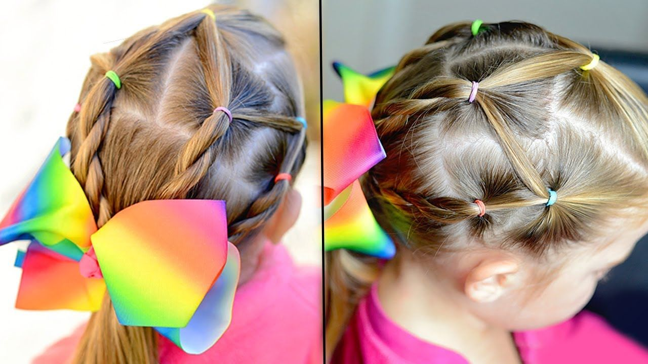 Easy Elastic Hairstyle For Girls School Hairstyles Hair Styles Girls School Hairstyles Hairstyles For School