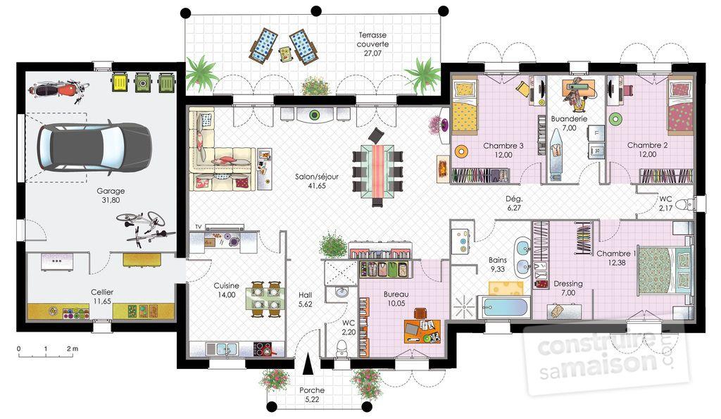 Maison contemporaine 1 house floor plan pinterest rez de chauss e maisons contemporaines - Plan de maison rez de chaussee ...