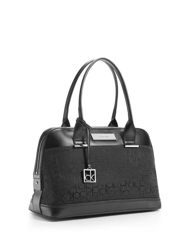 Calvin Klein Logo Jacquard Dome Satchel Shoulder Bag Handbag Black Calvinklein Shoulderbag