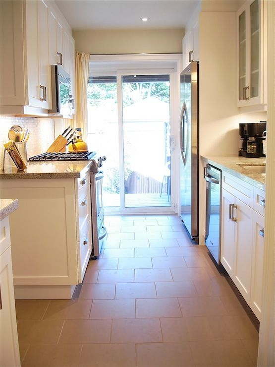 White Shaker Cabinets Galley Kitchen rambling renovators: galley style kitchen with sliding glass patio