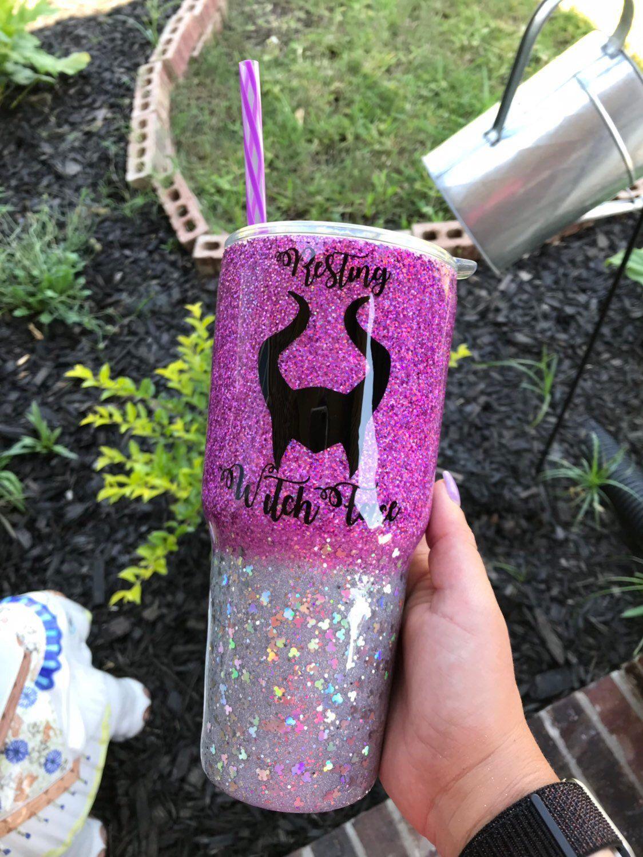 Disney Maleficent Glitter 30 Oz Epoxy Tumbler Disney Cups
