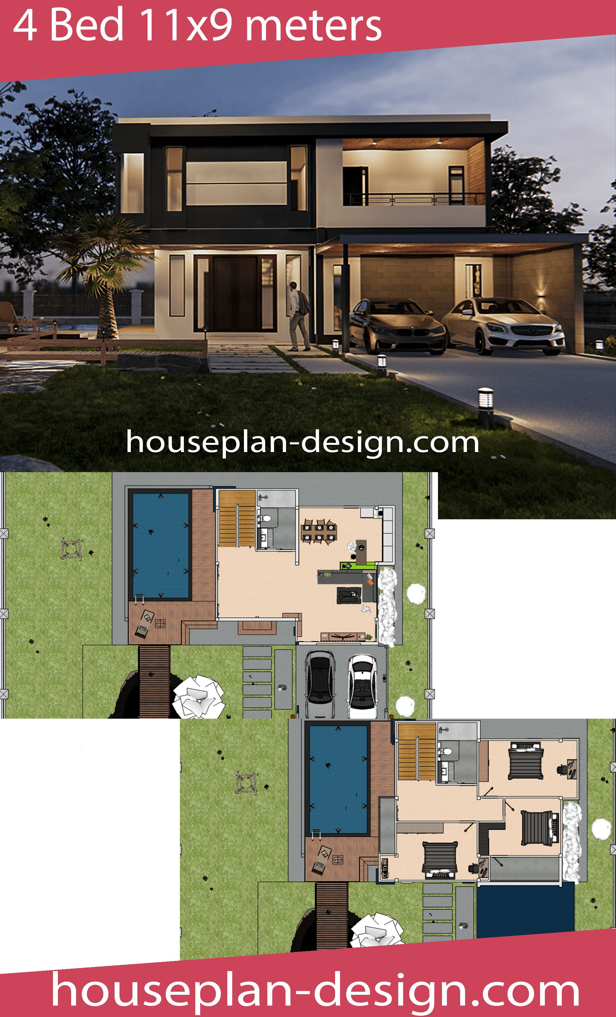 House Plan 11x9m With 3 Beds House Plan Design House Plans Home Design Plans Plan Design