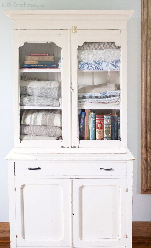 Use An Old Farmhouse Cabinet In The Bedroom For Extra Storage And Vintage  Charm. #farmhouse #farmhousestyle #fixerupper #linencloset #linencabinet ...