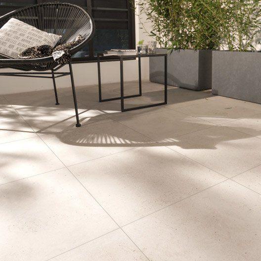 Leroymerlin Carrelage sol blanc effet béton Liverpool l45 x L45 cm - Pose De Carrelage Exterieur Sur Chape Beton