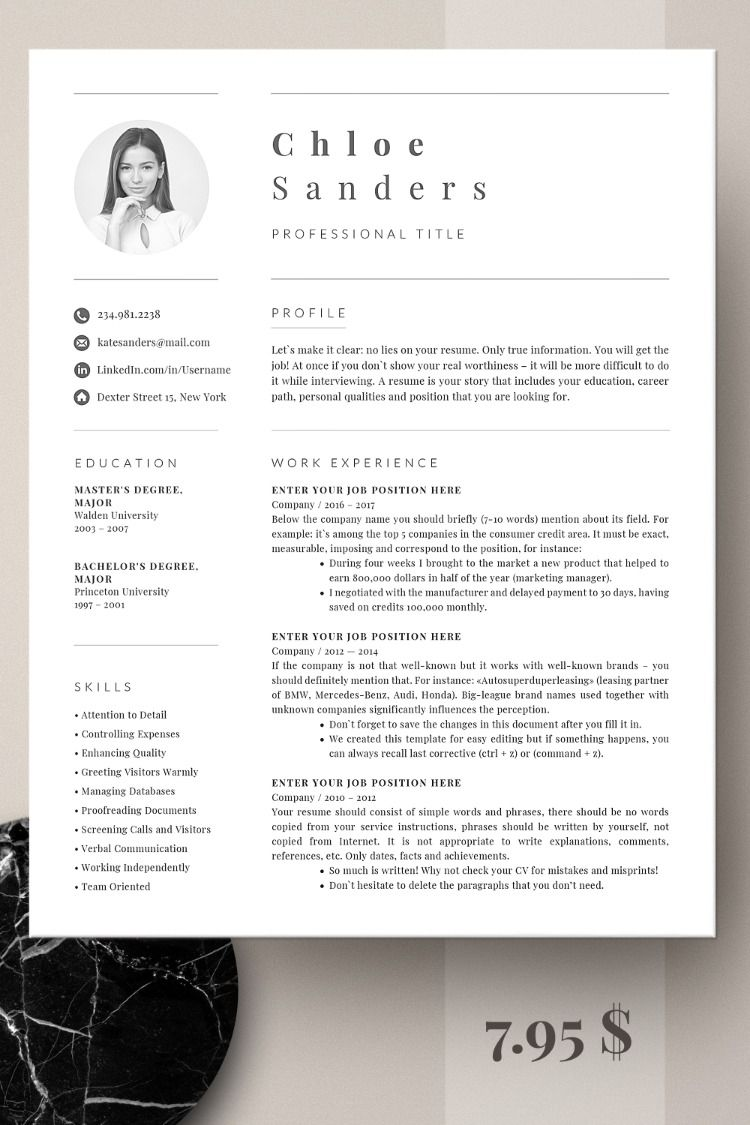 Professional Resume Template Modern Resume Template for