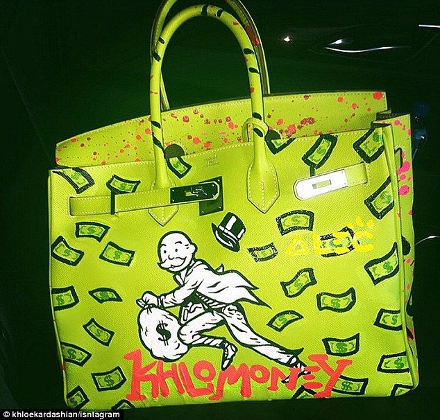 29fb1787e5 Custom painted  Khloe Kardashian shared a photo of her newest Hermès Birkin  bag that was painted by graffiti artist Alec Monopoly on her Instagram  account ...