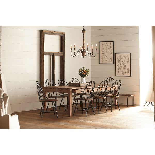 Magnolia Home Furniture Farmhouse Bench Brown And Metal 5 Piece Dining Set