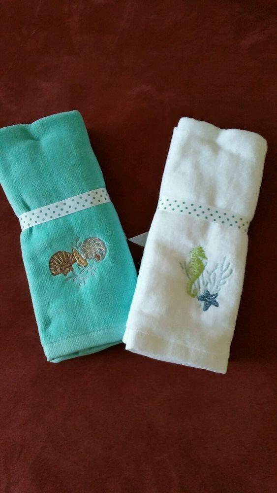 Coastal Set Of 2 Fingertip Towels Sealife 2 Styles