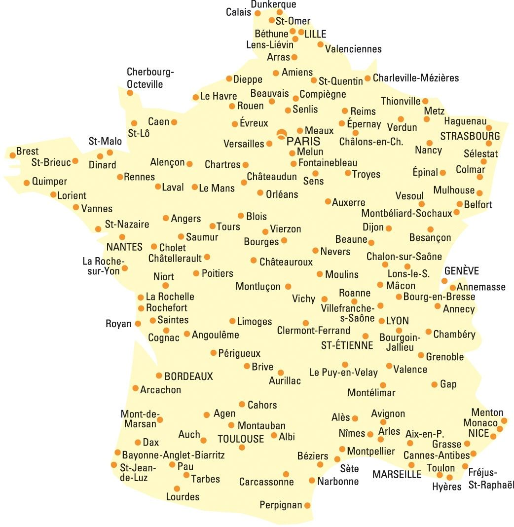 map of france with cities and towns Map showing locations of