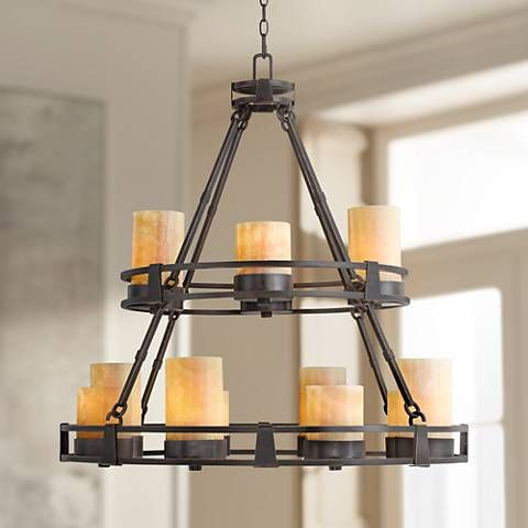 Sunset Onyx Stone 12 Light Faux Candle Chandelier R6623 Lamps Plus Faux Candle Chandelier Candle Chandelier Faux Candles