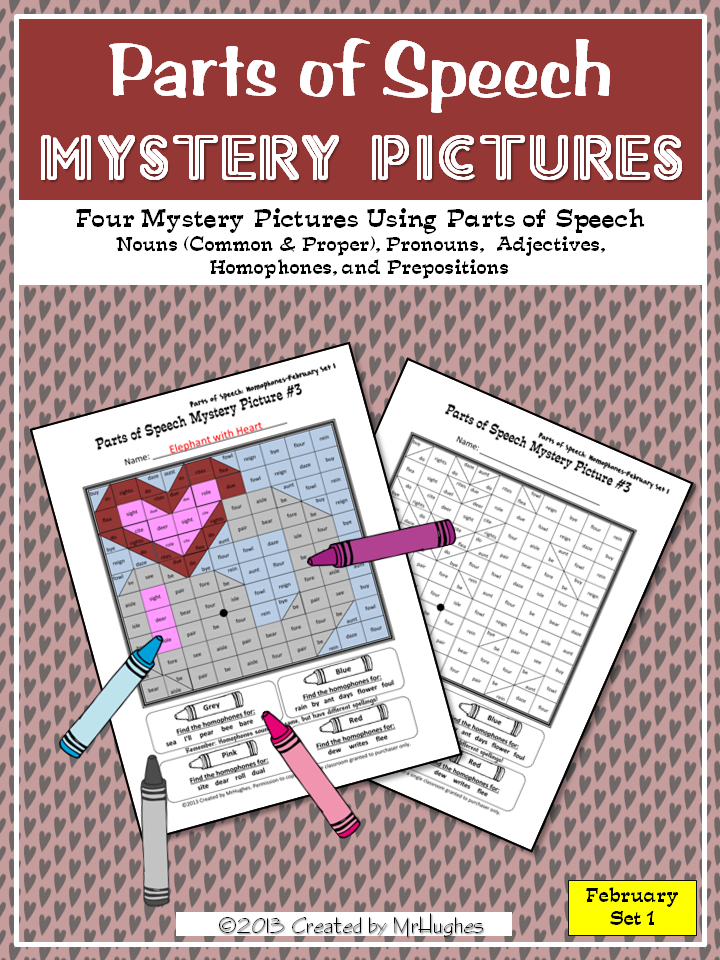 Parts of Speech Mystery Pictures  February Set 1  Prepositions