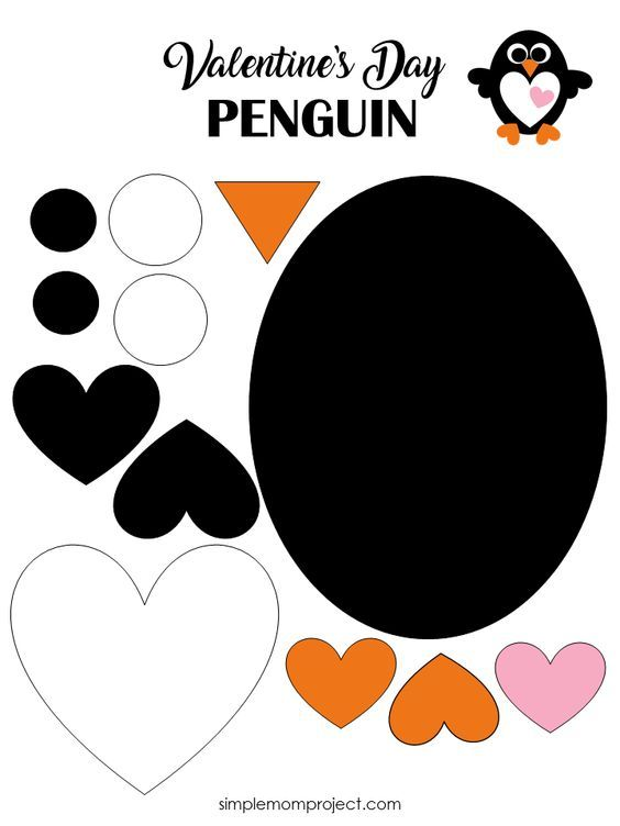 Check out this post for a free printable template to make your own Valentine's Day Penguin! Simple and easy DIY Penguin Valentine's Day craft for toddlers, big kids and adults to make. Great for classroom Valentine's Day art projects.