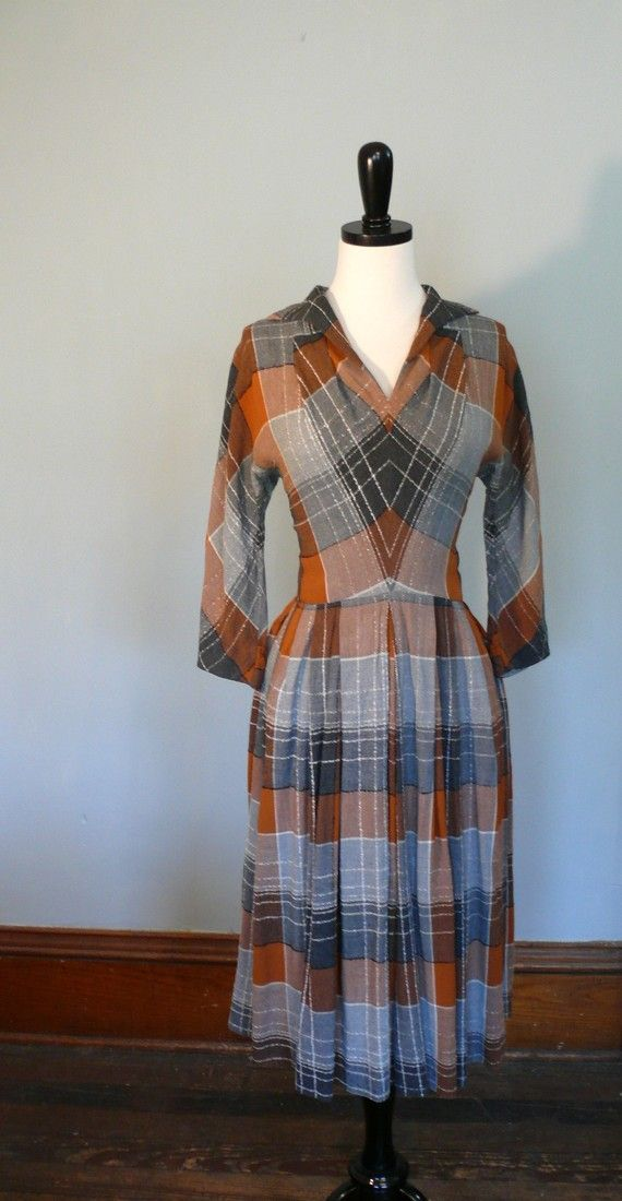 1940's Winter Plaid Dress $62  - this is without a doubt, the most perfect dress, ever.