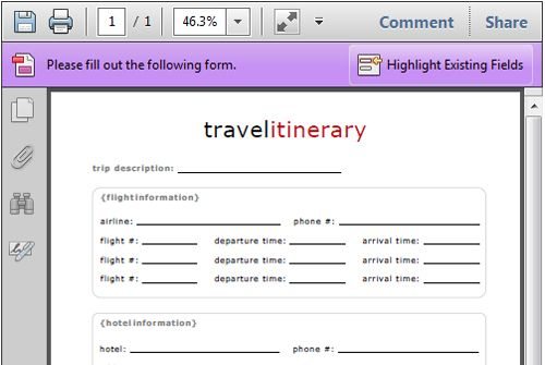 Flight Itinerary Template JzfliC  Directions    Free