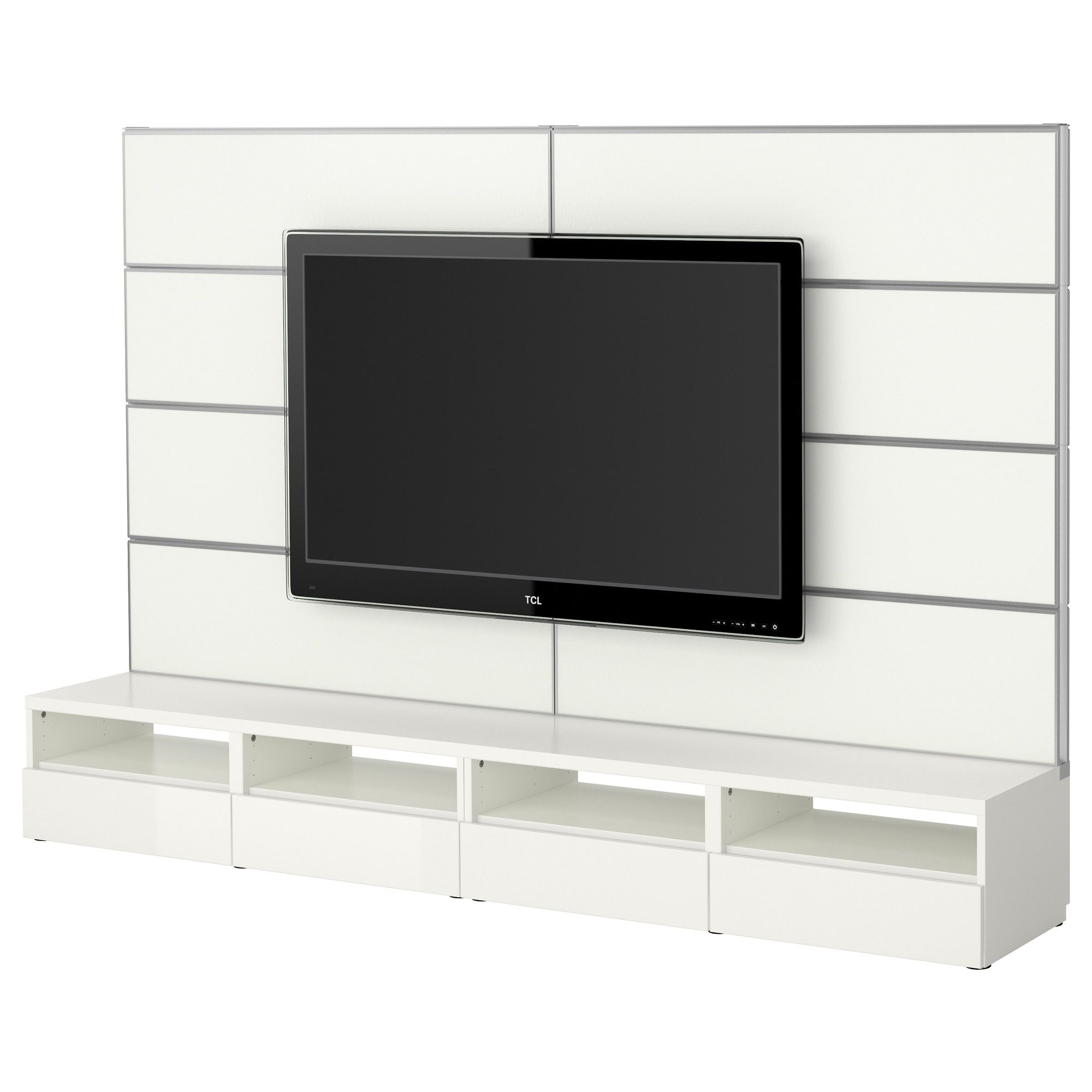 Best framst tv storage combination white ikea apt for Meuble mural ikea