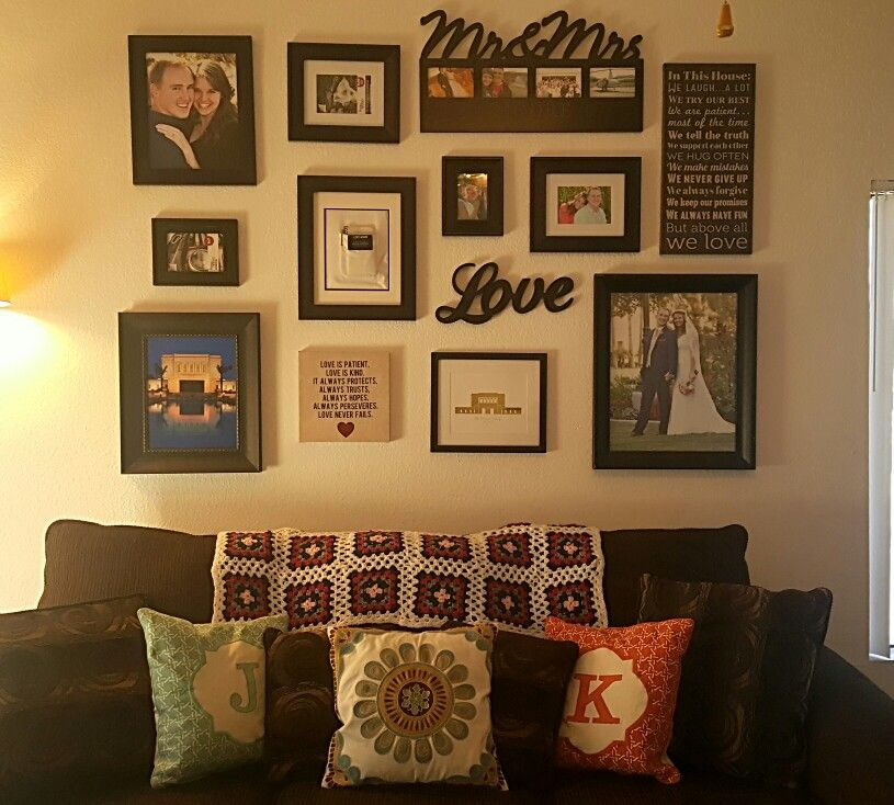Gallery wall with all black frames.