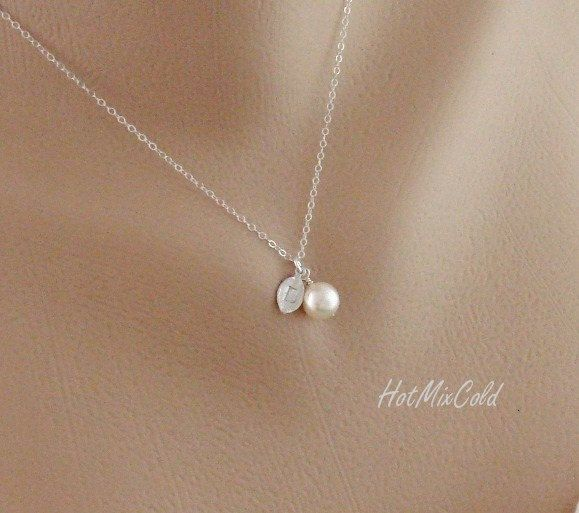 Silver monogram pendant necklace pearl initial leaf necklace charm silver monogram pendant necklace pearl initial leaf necklace charm jewelry child simple bridesmaid necklace flower girl gift 2300 via etsy aloadofball Images