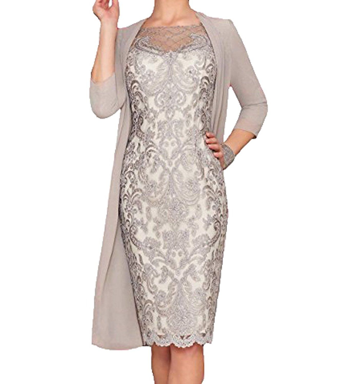 Mother of the groom dresses afternoon wedding  WDH Dress Light Pink Mother of The Bride Dress with Jacket
