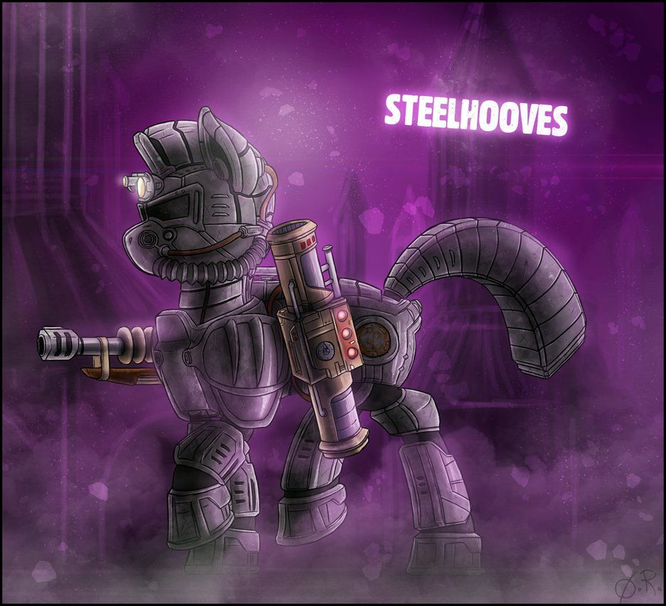 Back to the classics ! Calamity's always been my favorite companion in Fallout: Equestria. Enclave power armor + random sniper rifle + lightning because it looks cool.