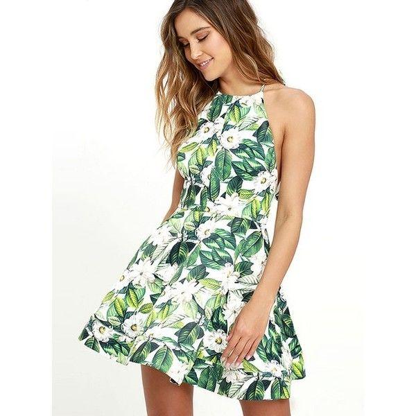 Green Floral Print Skater Dress Liked On Polyvore Featuring Dresses White Flower Print Dress Whit Dresses Summer Dresses For Women White Flower Print Dress