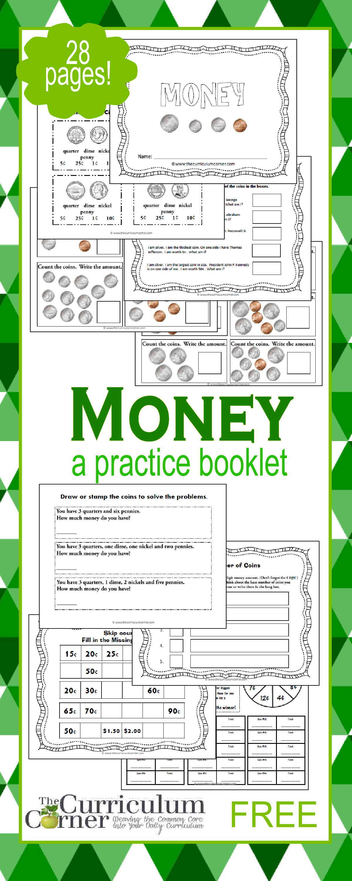 Counting Money Booklet Money Math Teaching Money Learning Money [ 3000 x 1200 Pixel ]