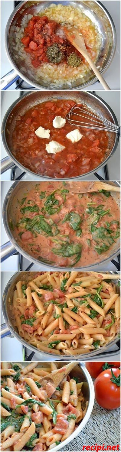 in the process of cooking this now and it is SO good!! || Creamy Spinach & Tomato Pasta Recipe. Yummy & So Easy!