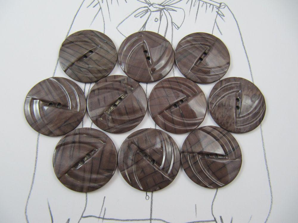 Vintage Lot of 10 Light Brown Carved Bakelite Buttons