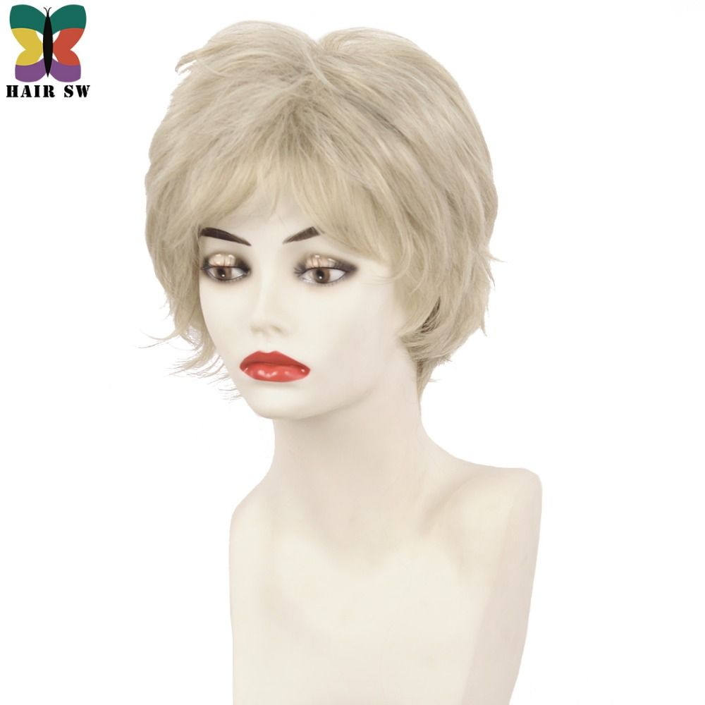 Fluffy short layers classic cut curly synthetic wigs light blonde