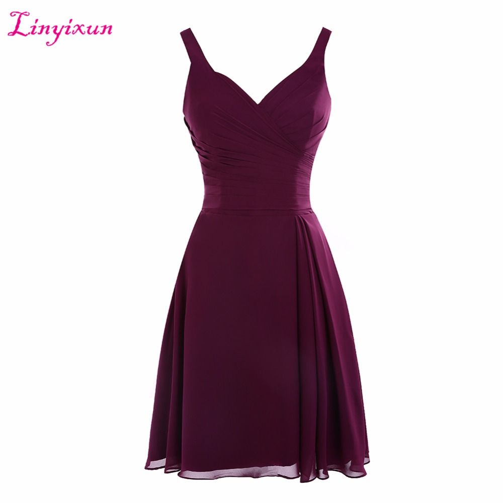 Click to buy ucuc linyixun real photo sexy purple short homecoming