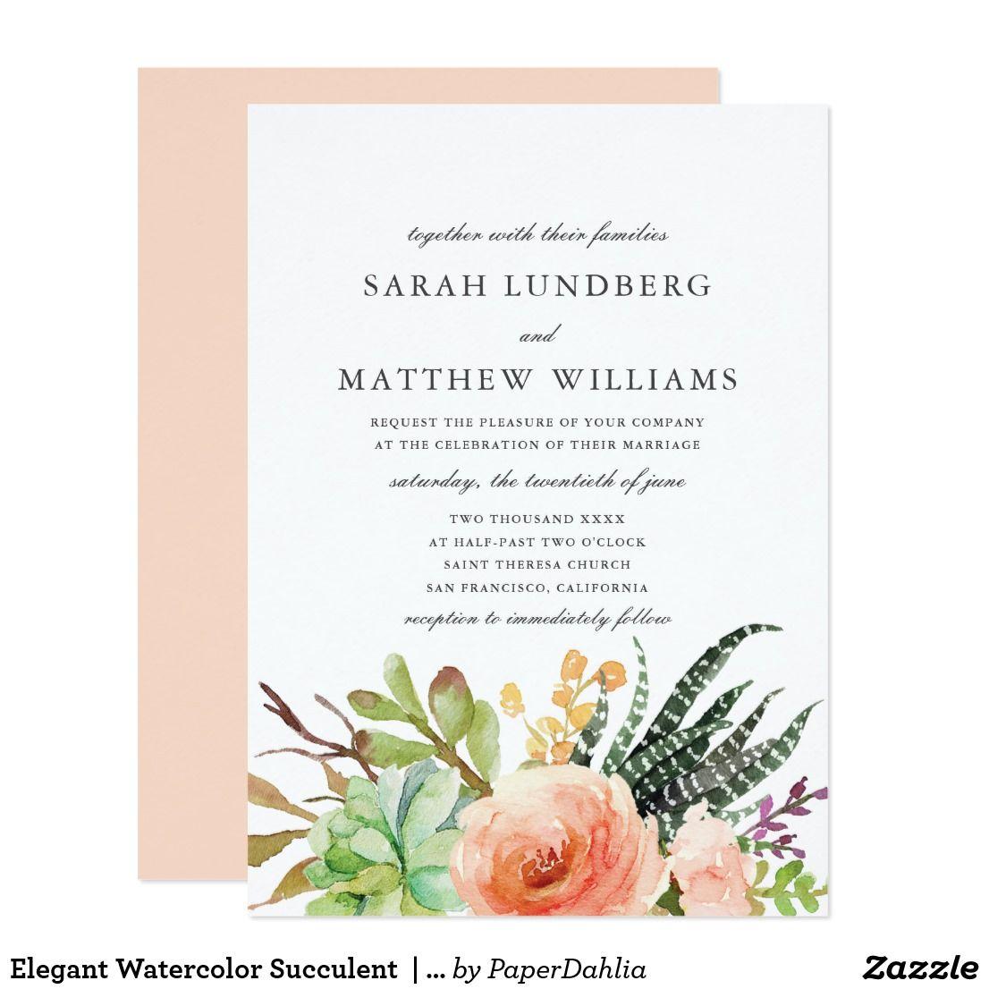 Elegant Watercolor Succulent Wedding Invitation Succulent