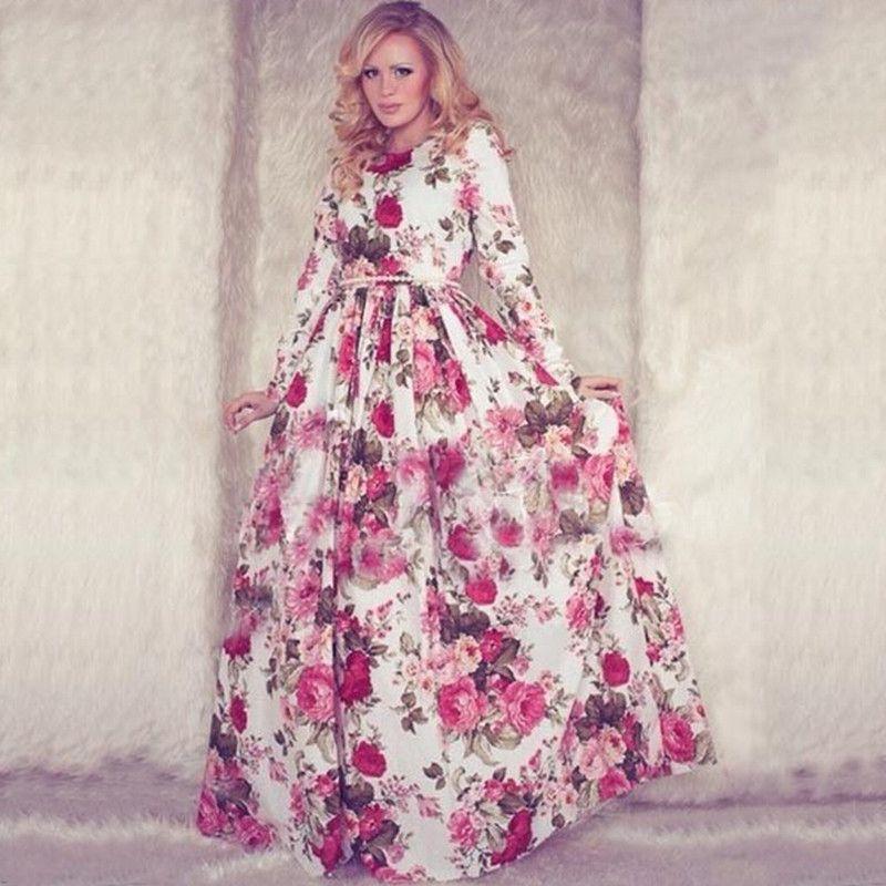 Cheap 2015 lo nuevo de largo blanco y rosa Floral vestido de partido ...
