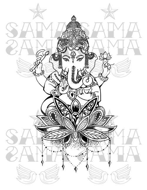Ganesha And Mandala Working On A New Design For Our Tanks And Tees Inspired By Tattoos And Hindu Gods From Bali Tatuagem Ganesha Tatuagem Elefante Tatoo