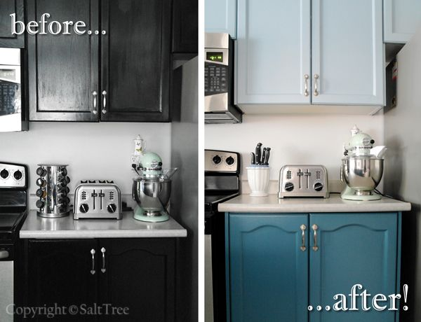Image Of Before And After Painted Kitchen Cabinets Picture