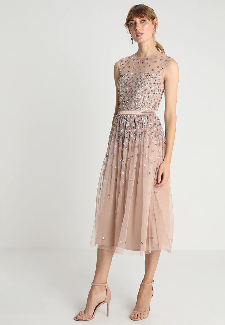 Maya Deluxe CLUSTER EMBELLISHED MIDI DRESS WITH YOKE - Sukienka