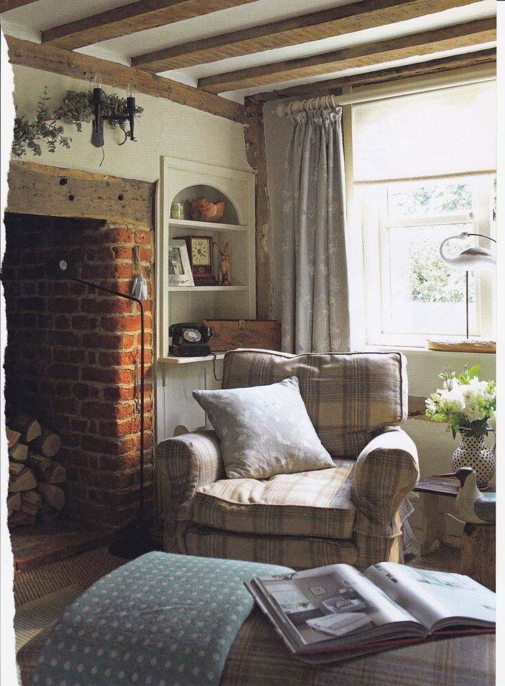 Old Red Brick In The Interior Cosy Cottage Living Room Cottage Living Rooms Home Living Room